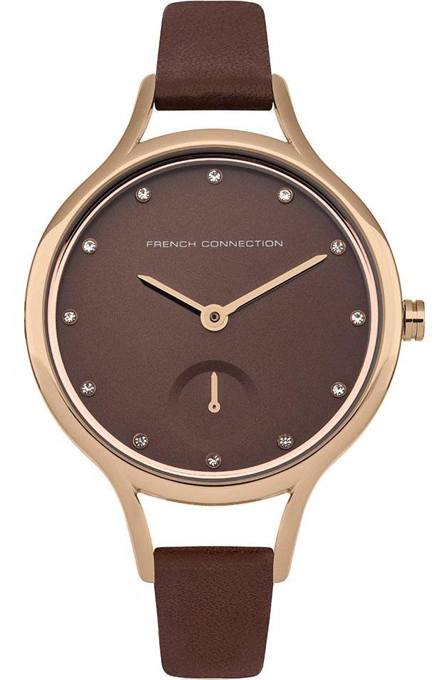 Наручные часы женские French Connection, цвет: бордовый. FC1274TRGFC1274TRGТрехстрелочный механизм Miyota VD78; IP Gold-покрытие; Размер корпуса 32 мм; Минеральное стекло, граненное; Коричневый циферблат с выпуклым дополнительным циферблатом; Чешские кристаллы; Ремешок коричневого цвета; Водозащита 3 АТМ