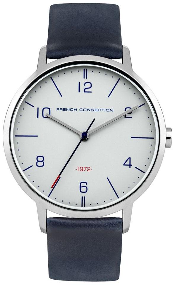 Наручные часы мужские French Connection, цвет: синий. FC1277UFC1277UТрехстрелочный механизм VJ21; IP Silver- покрытие; Размер корпуса 39 мм; Минеральное стекло; Матовый серый циферблат; Синий ремешок из натуральной кожи; Водозащита 3 ATM