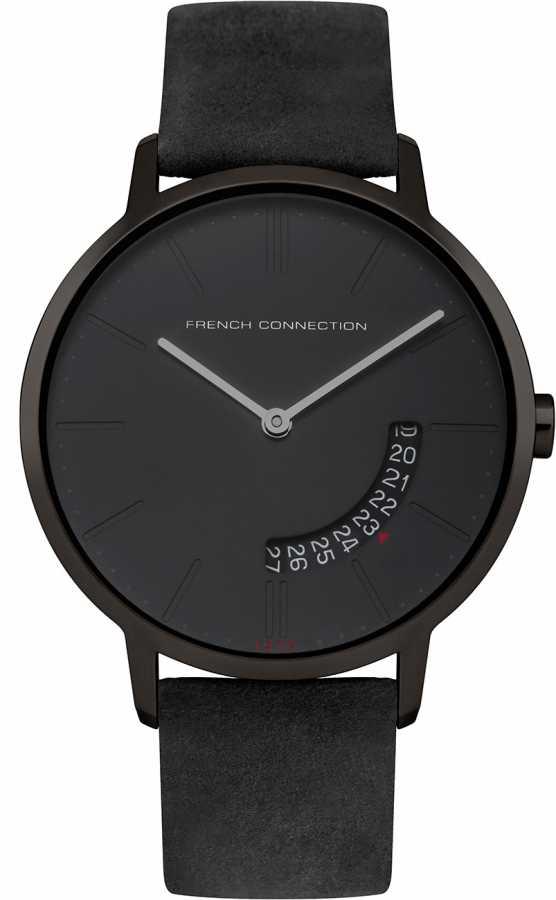 Наручные часы мужские French Connection, цвет: черный. FC1278BBFC1278BBДвухстрелочный механизм GM15; IP Black-покрытие; Размер корпуса 39 мм; Минеральное стекло; Матовый черный циферблат; Черный ремешок из натуральной кожи; Водозащита 3 ATM