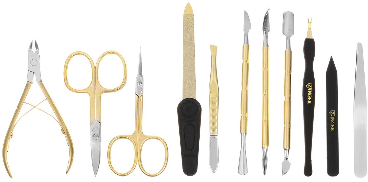 Zinger Маникюрный набор профессиональный (10 предметов) цвет брусничный, zMSFE 801-G42439/брусничный