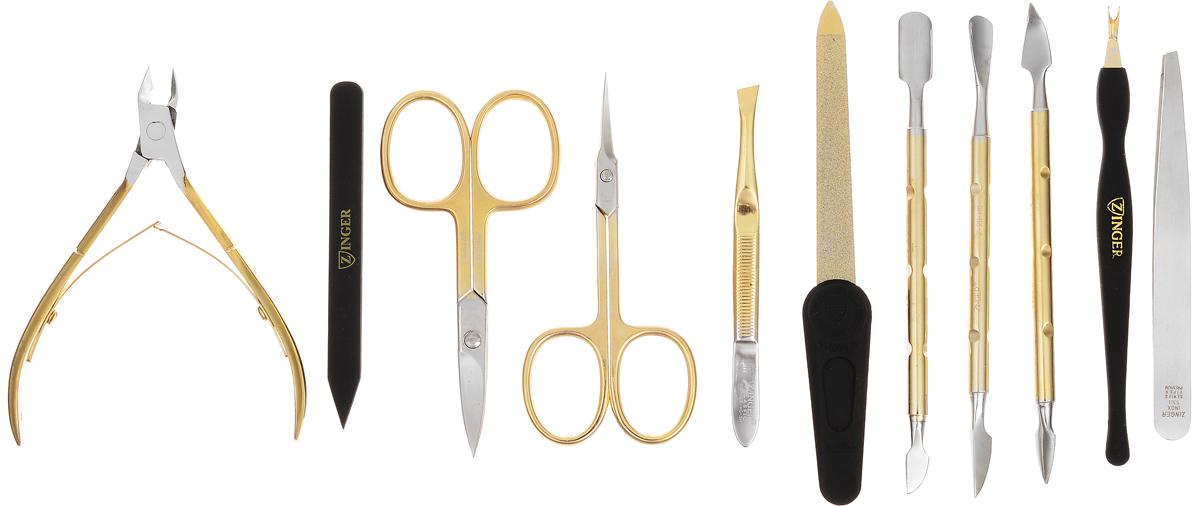 Zinger Маникюрный набор профессиональный (10 предметов) zMSFE 801-G42439/коричневый