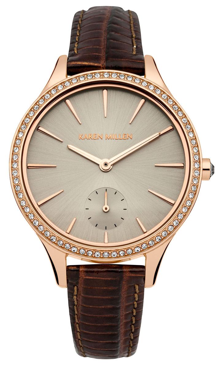 Наручные часы женские Karen Millen, цвет: коричневый. KM112VRGAKM112VRGAДвустрелочный механизм (Секундная стрелка) VD78; Размер корпуса 36 mm; Минеральное стекло; Циферблат серого цвета; Кристаллы Swarovski; ремешок из натуральной кожи белого цвета;Водозащита 5 ATM