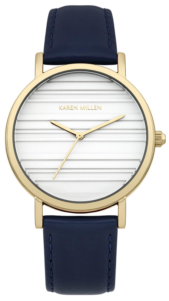 Наручные часы женские Karen Millen, цвет: синий. KM154UGAKM154UGAТрехстрелочный мезанизм 2035; IP Gold покрытие; Размер корпуса 36 mm; Минеральное стекло; Белый циферблат; Ремешок из натуральной кожи синего цвета; Водозащита 5 ATM