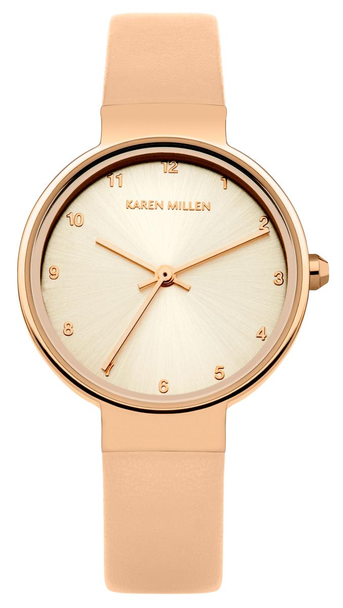 Наручные часы женские Karen Millen, цвет: розовый. KM131CRGKM131CRGТрехстрелочный механизм Miyota 2035; IP-покрытие; Размер корпуса 28мм; Минеральное стекло; Золотистого цвета циферблат; Нет камней; Ремешок из натуральной кожи; Водозащита 3 ATM
