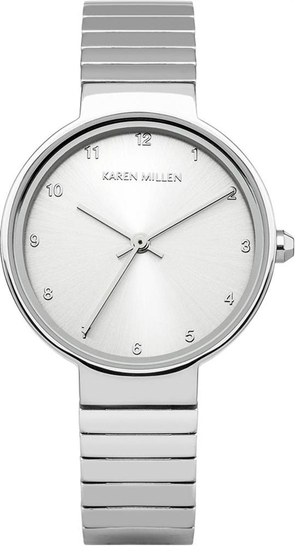 Наручные часы женские Karen Millen, цвет: серебряный. KM131SMKM131SMТрехстрелочный механизм Miyota 2035; IP-покрытие; Размер корпуса 28мм; Минеральное стекло; Нет камней; Браслет из нержавеющей стали; Водозащита 3 ATM