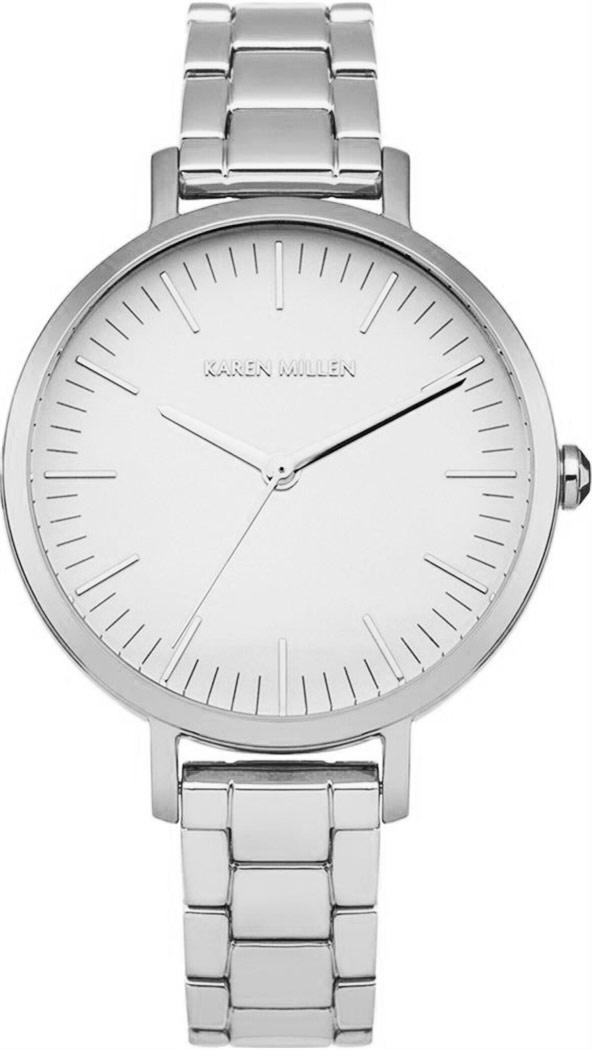 Наручные часы женские Karen Millen, цвет: серебряный. KM126SMKM126SM3-стрелочный механизм VJ21; IPS-покрытие; Диаметр 33 мм; Минеральное стекло; Белый циферблат; Нет камней; Браслет из нерж. стали; Водозащита 3 ATM