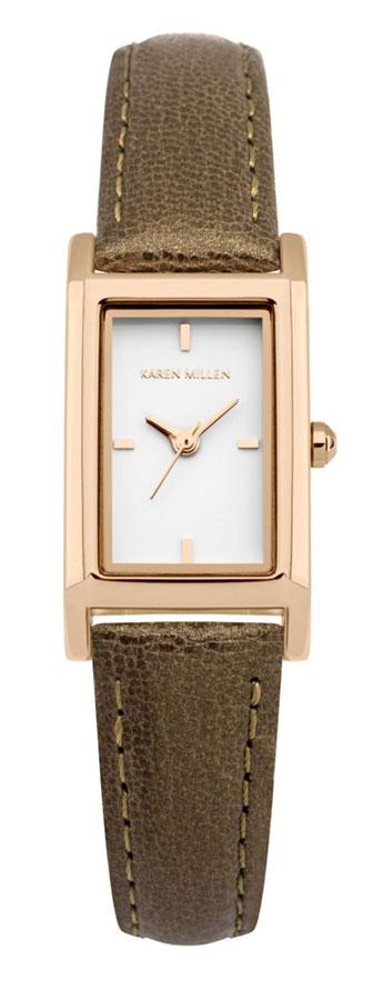 Наручные часы женские Karen Millen, цвет: коричневый. KM114TRGKM114TRG3-стрелочный механизм PC11; IP Rose Gold-покрытие; 18.2 x 31.8 мм; Минеральное стекло; Белый глянцевый циферблат; Перламутровый коричневый ремешок; Водозащита 3 АТМ