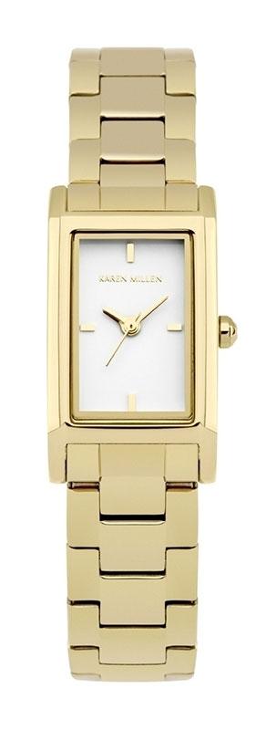 Наручные часы женские Karen Millen, цвет: золотой. KM114GMKM114GM3-стрелочный механизм PC11; IP Gold-покрытие; 18.2 x 31.8 мм; Минеральное стекло; Белый глянцевый циферблат; Браслет из нержавеющей стали с IPG-покрытием; Водозащита 3 АТМ