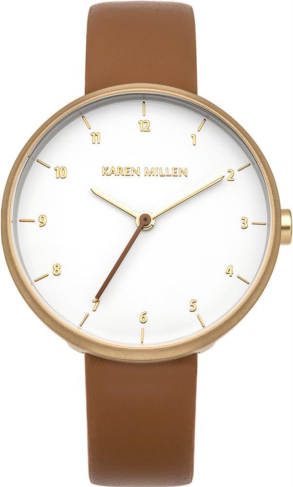 Наручные часы женские Karen Millen, цвет: коричневый. KM135TGKM135TG3-стрелочный механизм 2035;IP Gold-покрытие; Размер корпуса 34 мм; Минеральное стекло; Белый глянцевый циферблат; Ремешок из натуральной кожи коричневого цвета; Водозащита 3 ATM