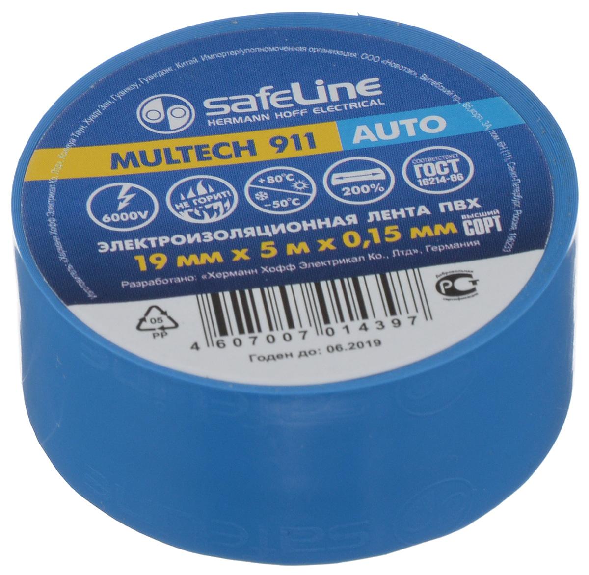 """Лента изоляционная Safelin """"Auto"""", цвет: синий, ширина 1,9 см, длина 5 м Safeline 10772"""