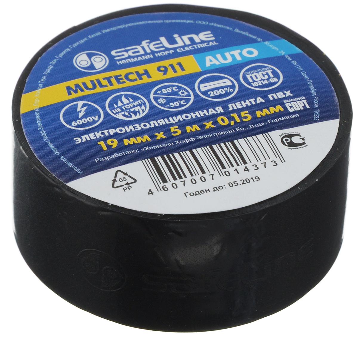 """Лента изоляционная Safelin """"Auto"""", цвет: черный, ширина 1,9 см, длина 5 м Safeline 10767"""