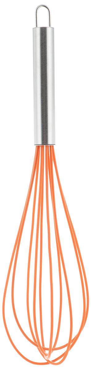 Венчик силиконовый Paterra, цвет: оранжевый, стальной, длина 30 см402-447_оранжевыйВенчик Paterra предназначен для качественного и быстрого взбивания сливок, теста, кремов, соусов, яиц. Он изготовлен из высококачественной стали и жароупорного силикона. Силиконовое покрытие венчика не повреждает поверхность посуды (тефлон, полированную нержавеющую сталь, фарфор, керамику и т.д.). Эргономичная ручка из нержавеющей стали определяет удобный захват и легкость движений, а идеальная форма венчика - залог качественного взбивания. Кроме этого, силиконовое покрытие не впитывает посторонние запахи и прекрасно промывается водой. Силиконовый венчик Paterra идеально подходит для взбивания как холодных, так и горячих ингредиентов.