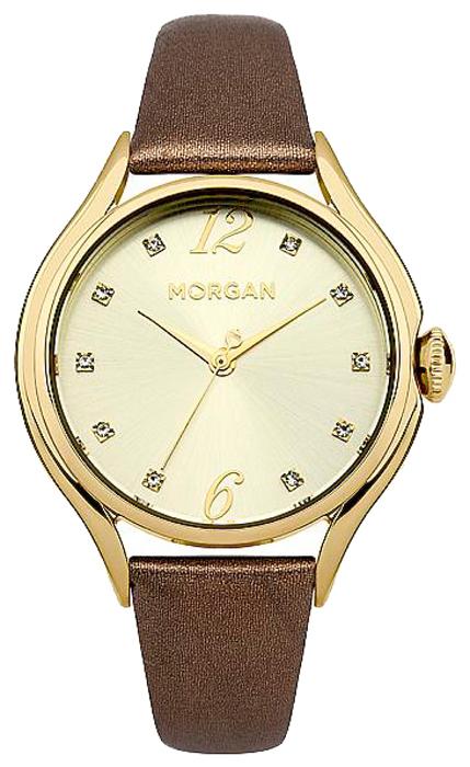 Наручные часы женские Morgan, цвет: коричневый. M1217TGM1217TG3-стрелочный механизм PC21; IP Gold-покрытие; Размер корпуса 36 мм; Минеральное стекло; Золотистый циферблат солнечные лучи ; Украшены кристаллами; Коричневый ремешок с текстурной обработкой под крокодила; Водозащита 3 ATM