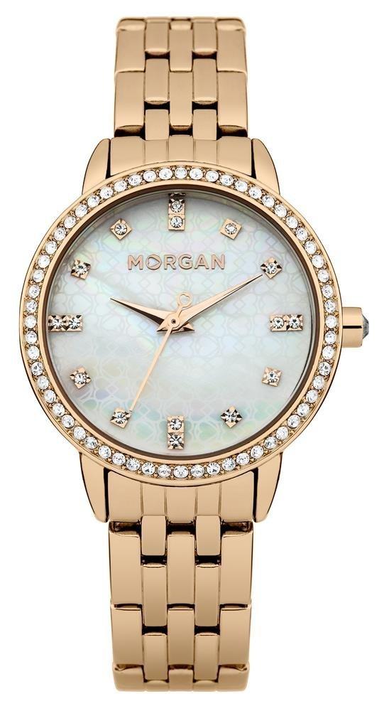 Наручные часы женские Morgan, цвет: светло-розовый. M1222RGMM1222RGMТрехстрелочный механизм Mioyota PC21AE; IP Rose Gold покрытие; Размер корпуса: 31 mm; Минеральное стекло; Перламутровый циферблат; Чешские кристаллы; Браслет из нержавеющей стали; Водозащита 3 ATM