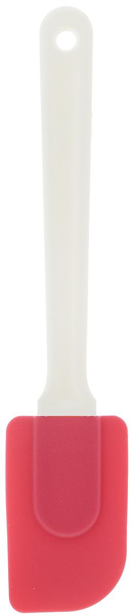 Лопатка кулинарная Paterra, цвет: малиновый, длина 25 см402-497_малиновыйСиликоновая лопатка Paterra очень удобна для переворачивания продуктов во время жарки и тушения, также она идеальна для размешивания теста и при подаче готового блюда на тарелки. Лопатка имеет длинную ручку, которая надежно защищает руки от ожогов раскаленным маслом. Рабочая част лопатки изготовлена из силикона, не прилипает к пище, не царапает любое антипригарное покрытие посуды, отлично промывается водой. Высококачественный силикон в составе изделия позволяет лопатке Paterra выдерживать значительные перепад температур ( от -40°С до +250°С), поэтому она не оплывает при контакте с раскаленным маслом. Гибкость лопатки пригодится при работе с тестом, для размешивания и собирания теста со стенок посуды, при переворачивании тонких блинчиков на сковородке. Лопатка идеальна для нанесения и выравнивания крема на поверхности торта.