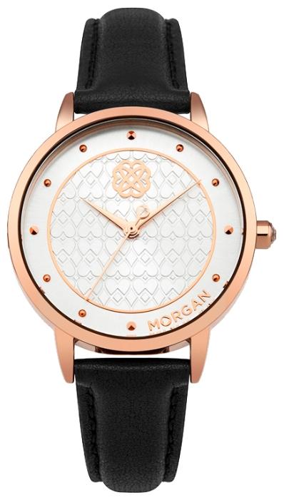 Наручные часы женские Morgan, цвет: черный. M1262CBGM1262CBG3-стрелочный механизм PC21; IP Rose Gold покрытие; Размер корпуса 38 мм; Минеральное стекло; Белый циферблат; Чешские кристаллы; Черный ремешок из натуральной кожи; Водозащита 3 ATM
