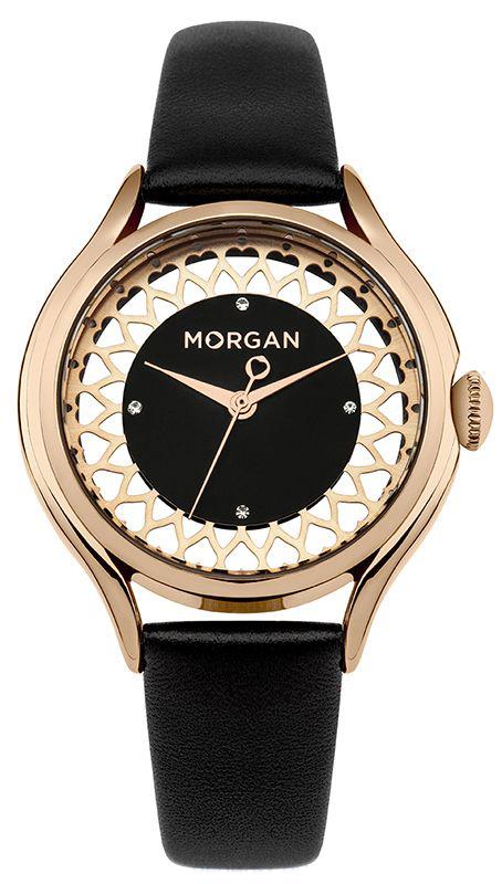 Наручные часы женские Morgan, цвет: черный. M1274BRGM1274BRGТрехстрелочный механизм PC21; IP Rose Gold- покрытие; Размер корпуса 35.6 мм; Минеральное стекло; Прозрачный бледно-розовый циферблат; Чешские кристаллы; Черный кожаный ремешок; Водозащита 3 АТМ
