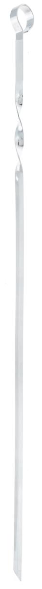 Шампур угловой ПИКНИЧОК, длина 60 см401-608Угловой шампур ПИКНИЧОК изготовлен из пищевой хромированной стали толщиной 1,5 мм с антикоррозийным покрытием. Шампур имеет удобную витую ручку, которая препятствует скольжению в пазах мангала. Безопасно заостренный кончик позволяет легко и просто нанизывать кусочки мяса, рыбы, овощей. Угловой шампур за счет своей удобной формы также идеально подходит для приготовления куриных окорочков и ребрышек. Толщина шампура: 1,5 мм. Ширина шампура: 1 см.