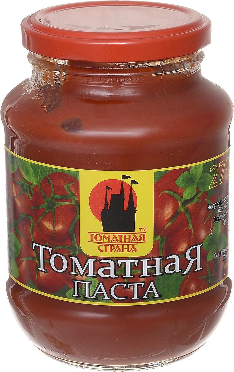 Томатная страна Паста томатная, 500 г1407Томатная паста Томатная страна с оригинальным, свежим вкусом, насыщенным цветом и ароматом. Она очень густая (содержит более 27% сухих веществ) и приготовлена только из помидоров.