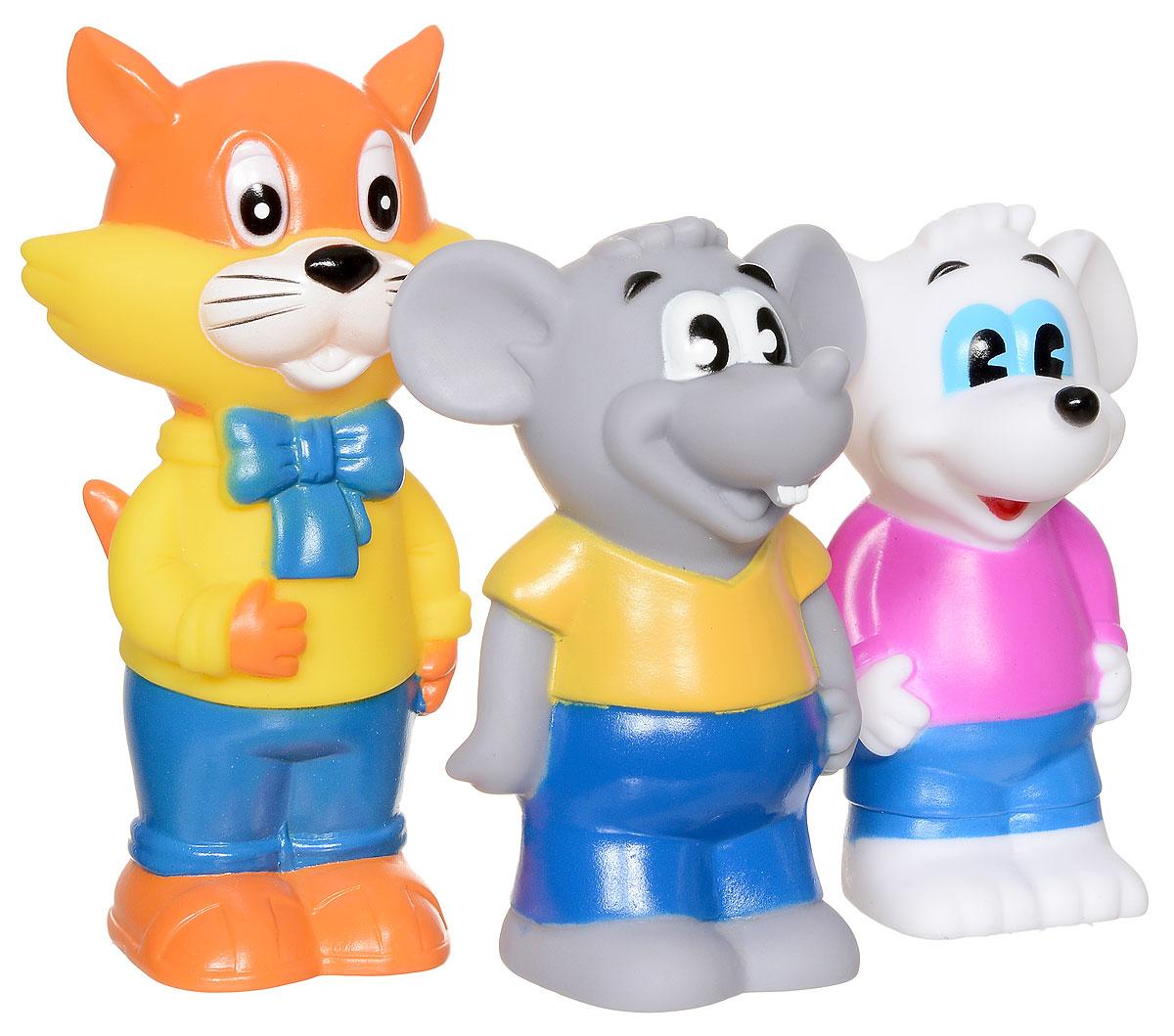 Играем вместе Набор игрушек для ванной Кот Леопольд и мыши 3 шт102R-PVCС набором игрушек для ванной Играем вместе Кот Леопольд и мыши принимать водные процедуры станет еще веселее и приятнее. В набор входят 3 игрушки в виде кота Леопольда и двух мышат. При сжатии игрушки издают забавный писк. Набор доставит ребенку большое удовольствие и поможет преодолеть страх перед купанием. Игрушки для ванной способствуют развитию воображения, цветового восприятия, тактильных ощущений и мелкой моторики рук.