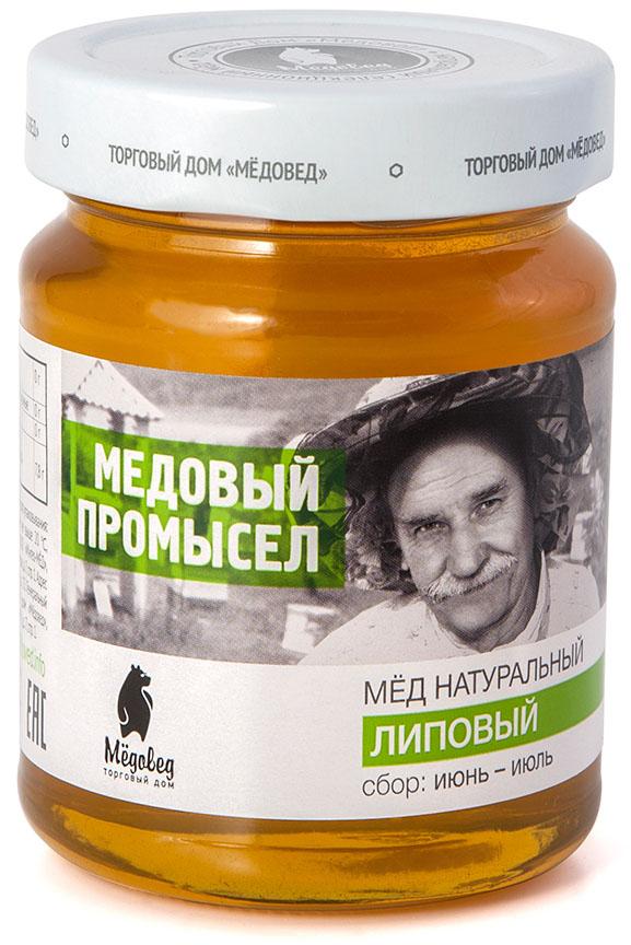 Медовед Медовый промысел мед пчелиный натуральный липовый, 350 г 4602009354946