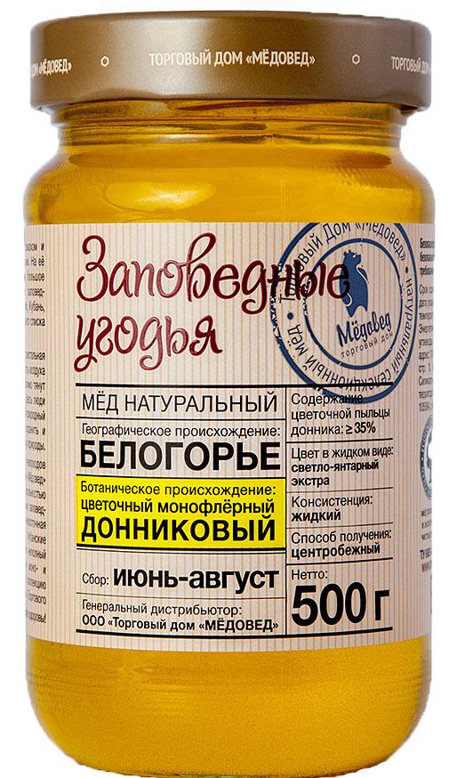 Медовед Заповедные угодья мед пчелиный натуральный донниковый, 500 г