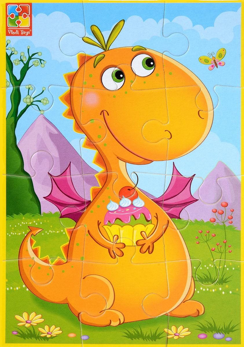 Vladi Toys Пазл для малышей Динозаврик с пирожнымVT1103-51Пазл для малышей Vladi Toys Динозаврик с пирожным состоит из крупных мягких деталей, подойдет для детей от 3 лет. Все элементы легко соединяются между собой. Собрав этот пазл, включающий в себя 12 элементов, вы получите картинку с изображением веселого динозавра с пирожным в лапах. Элементы пазла изготовлены из вспененного полимера с картонным покрытием, благодаря чему ребенку будет удобно собирать картинку. Мягкий пазл поможет развить у ребенка тактильные ощущения, мелкую моторику рук, пространственное воображение, а также внимательность, настойчивость и целеустремленность.