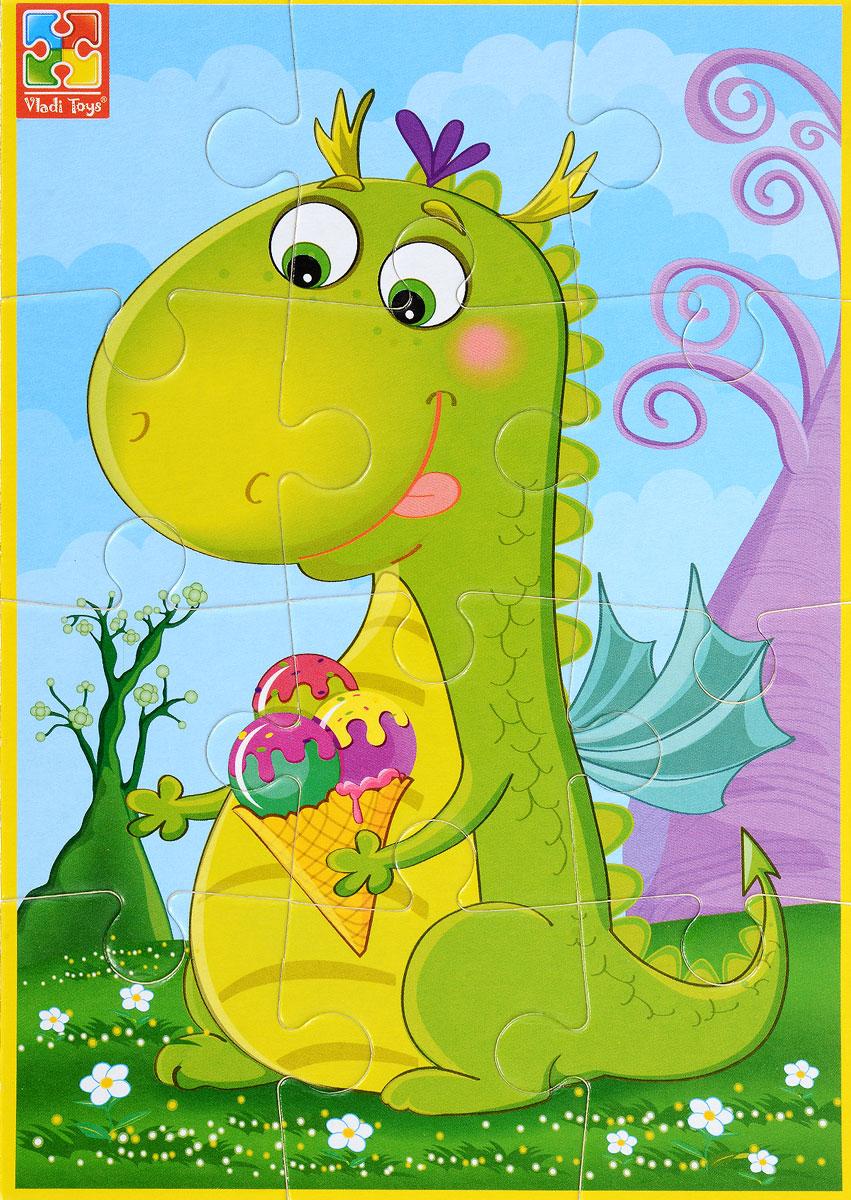 Vladi Toys Пазл для малышей Динозаврик с мороженымVT1103-50Пазл для малышей Vladi Toys Динозаврик с мороженым состоит из крупных мягких деталей, подойдет для самых маленьких детей. Все детали легко соединяются между собой. Собрав этот пазл, включающий в себя 12 элементов, вы получите картинку с изображением симпатичного динозавра с мороженым в руках. Пазл научит ребенка усидчивости, умению доводить начатое дело до конца, поможет развить внимание, память, образное и логическое мышления, сенсорно- моторную координацию движения рук. Крупная и яркая форма собираемых элементов картинки способствует развитию мелкой моторики, которая напрямую влияет на развитие речи и интеллектуальных способностей. В дальнейшем хорошая координация движений рук поможет ребенку легко овладеть письмом.