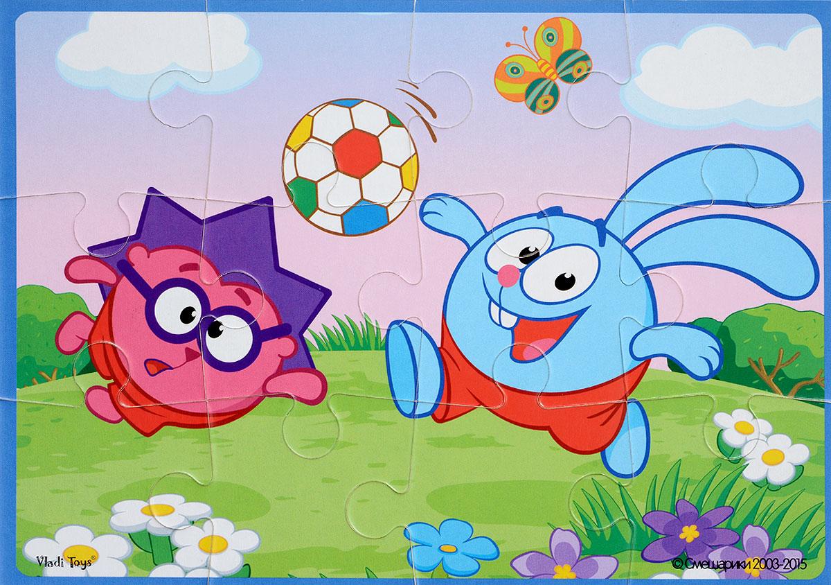 Vladi Toys Пазл для малышей Смешарики Крош и Ежик на полянкеVT1103-34Пазл для малышей Vladi Toys Смешарики. Крош и Ежик на полянке состоит из крупных мягких деталей, подойдет для детей от 3 лет. Все элементы легко соединяются между собой. Собрав этот пазл, включающий в себя 12 элементов, вы получите картинку с изображением двух персонажей популярного детского мультфильма Смешарики. Пазл научит ребенка усидчивости, умению доводить начатое дело до конца, поможет развить внимание, память, образное и логическое мышления, сенсорно-моторную координацию движения рук. Крупная и яркая форма собираемых элементов картинки способствует развитию мелкой моторики, которая напрямую влияет на развитие речи и интеллектуальных способностей. В дальнейшем хорошая координация движений рук поможет ребенку легко овладеть письмом.