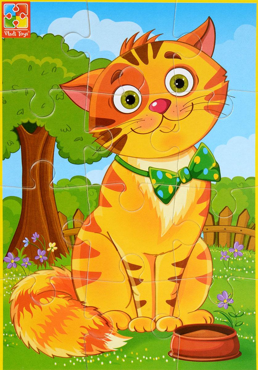 Vladi Toys Пазл для малышей КотикVT1103-52Пазл для малышей Vladi Toys Котик состоит из крупных мягких деталей, подойдет для самых маленьких детей. Все детали легко соединяются между собой. Собрав этот пазл, включающий в себя 12 элементов, вы получите картинку с изображением очаровательного кота с зеленым бантиком на шее. Пазл научит ребенка усидчивости, умению доводить начатое дело до конца, поможет развить внимание, память, образное и логическое мышления, сенсорно- моторную координацию движения рук. Крупная и яркая форма собираемых элементов картинки способствует развитию мелкой моторики, которая напрямую влияет на развитие речи и интеллектуальных способностей. В дальнейшем хорошая координация движений рук поможет ребенку легко овладеть письмом.