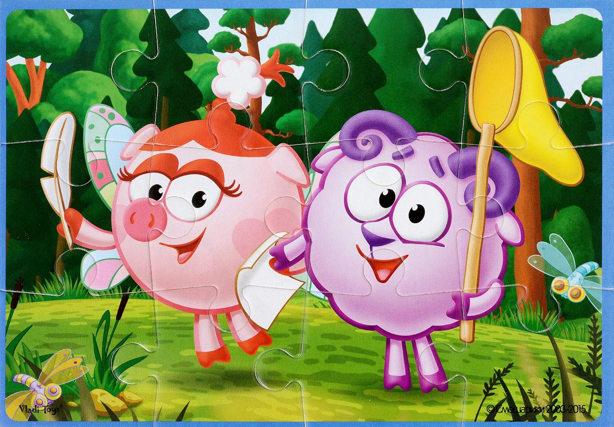 Vladi Toys Пазл для малышей Смешарики Нюша и БарашVT1103-39Пазл для малышей Vladi Toys Смешарики. Нюша и Бараш состоит из крупных мягких деталей, подойдет для самых маленьких детей. Все детали легко соединяются между собой. Собрав этот пазл, включающий в себя 12 элементов, вы получите картинку с изображением двух персонажей популярного детского мультфильма Смешарики. Пазл научит ребенка усидчивости, умению доводить начатое дело до конца, поможет развить внимание, память, образное и логическое мышления, сенсорно-моторную координацию движения рук. Крупная и яркая форма собираемых элементов картинки способствует развитию мелкой моторики, которая напрямую влияет на развитие речи и интеллектуальных способностей. В дальнейшем хорошая координация движений рук поможет ребенку легко овладеть письмом.