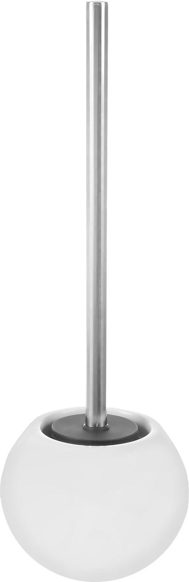 Ершик для унитаза Ridder Bowl, с подставкой, цвет: белый22240401Ершик для унитаза Ridder Bowl выполнен из нержавеющей стали с хромированным покрытием и оснащен жестким ворсом. Подставка, выполненная из керамики, с устойчивым основанием не позволяет ершику опрокинуться. Ершик отлично чистит поверхность, а грязь с него легко смывается водой. Стильный дизайн изделия притягивает взгляд и прекрасно подойдет к интерьеру туалетной комнаты.