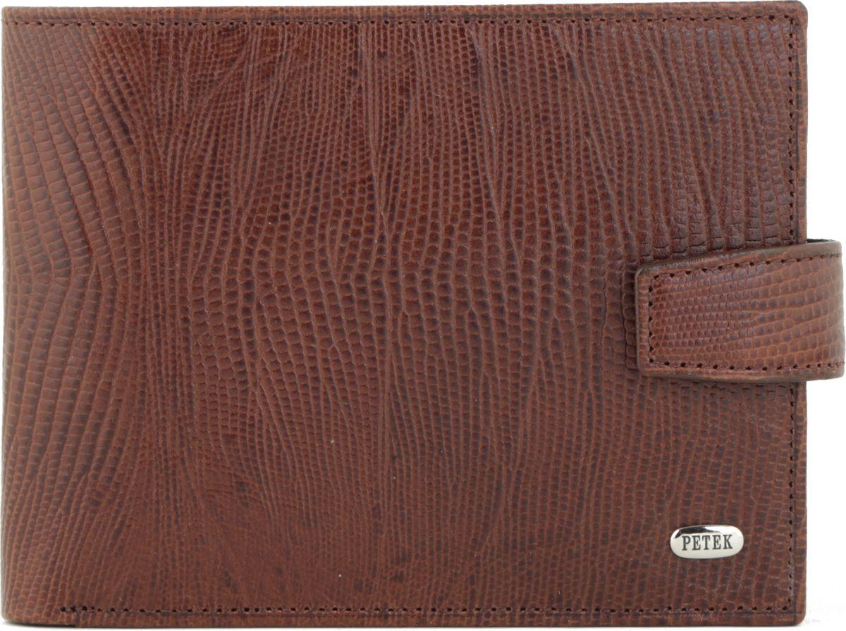 Портмоне мужское Petek 1855, цвет: коричневый. 102.041.02102.041.02 D.BrownНатуральная кожа, рептилия, Горизонтальное, С отделением для монет / С отделением для кредиток