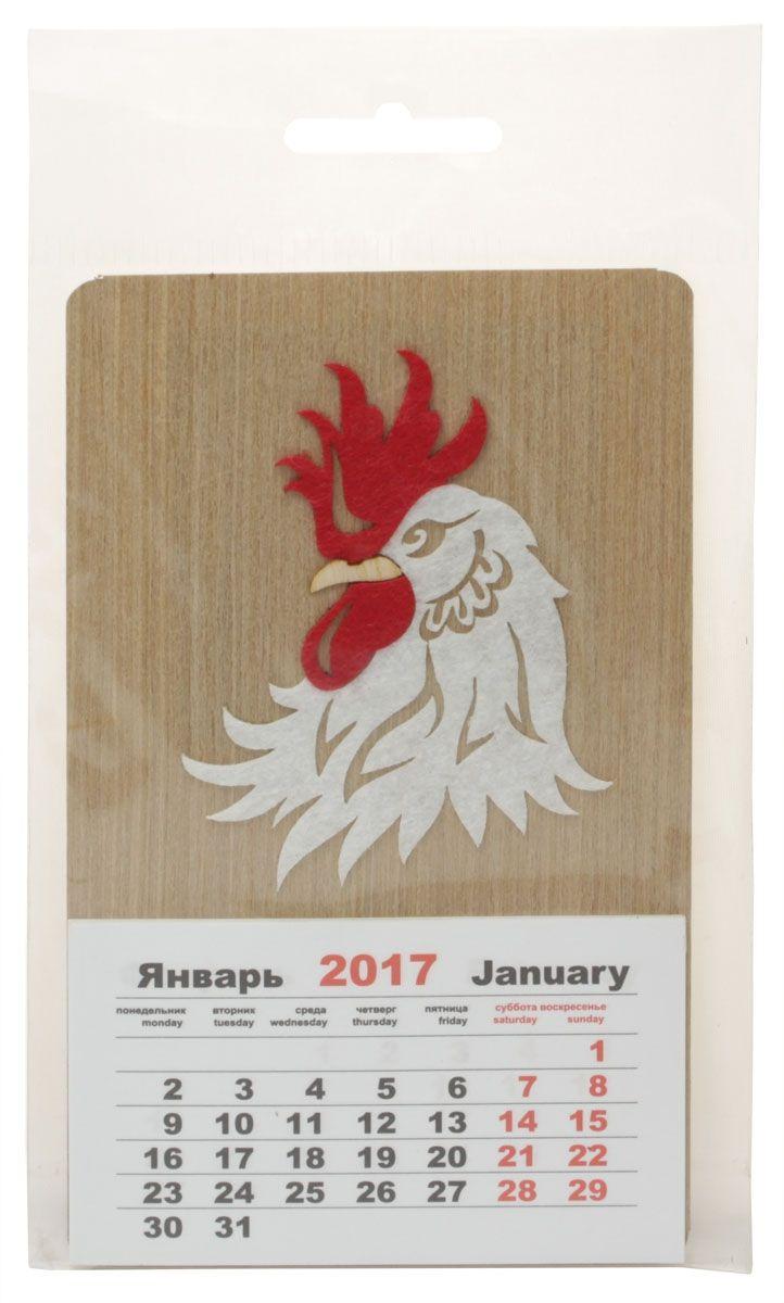 Календарь Караван-СТ Голова петуха (2017 год)КО-06Габаритные размеры 85х145 Материал Натуральный шпон Фетр
