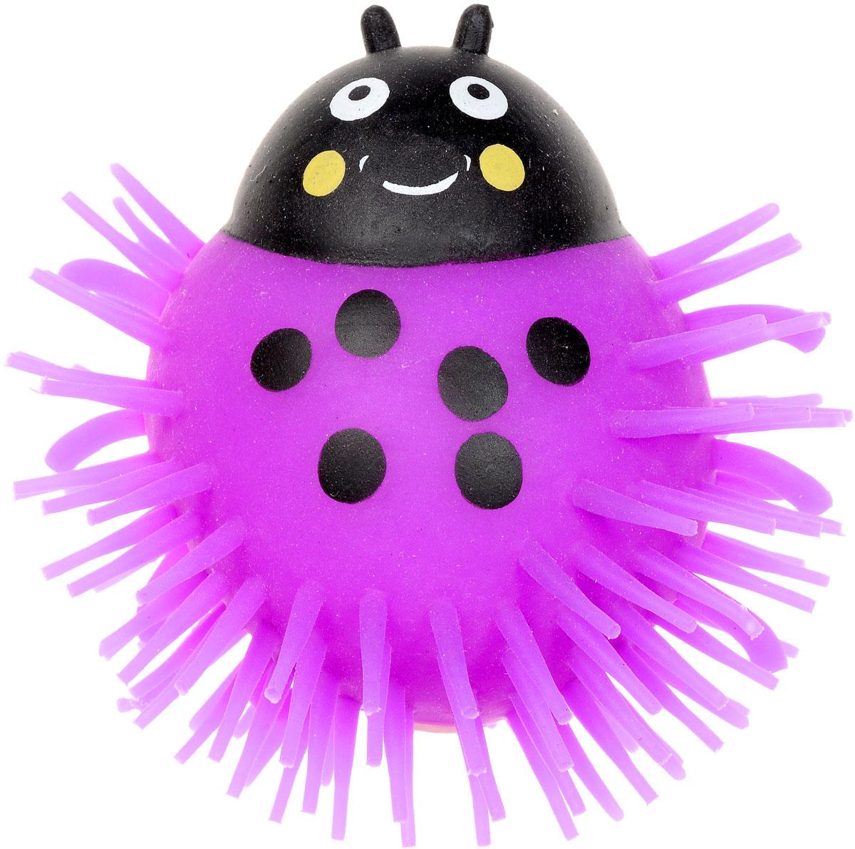 1TOY Игрушка-антистресс Ё-Ёжик Жук цвет фиолетовыйТ56227_фиолетовыйЁ-Ёжик - это яркая игрушка-антистресс - мягкая, приятная на ощупь и напоминающая свернувшегося ёжика. Взяв игрушку в руки, расстаться с ней просто невозможно! Её не только приятно держать в руках, если перекинуть игрушку из руки в руку, она начнёт мигать цветными огоньками. Игрушка фиолетового цвета с черным рисунком и длинными мягкими колючками. Данная игрушка рассчитана на широкую целевую аудиторию, как детей от трёх лет, так и взрослых. Ё-Ёжик обязательно станет самым любимым забавным сувениром. Игрушка работает от незаменяемых батареек.