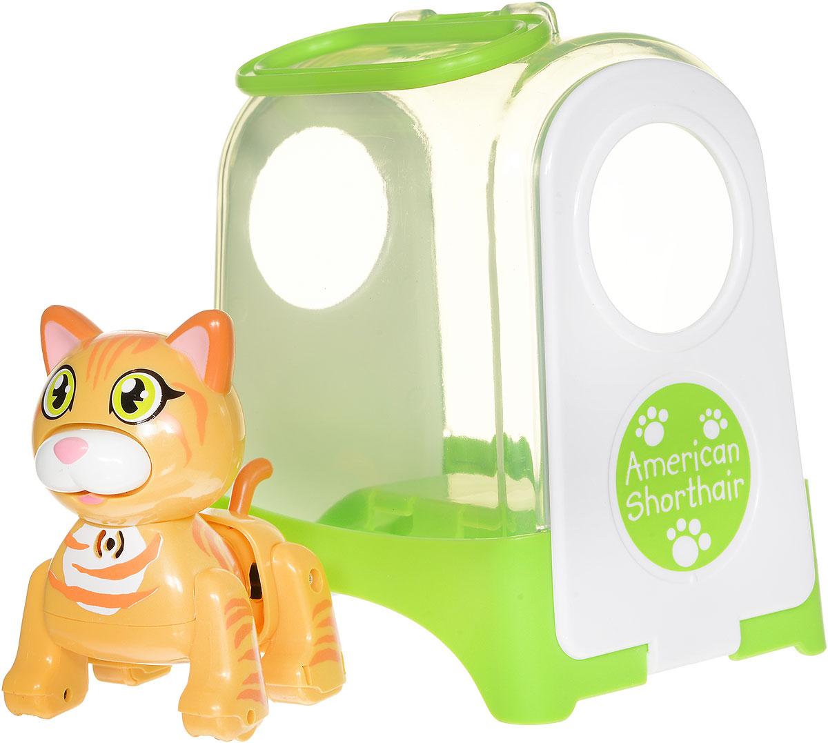 DigiFriends Интерактивная игрушка Котенок в переноске цвет желтый оранжевый88512_желтый, оранжевыйИнтерактивная игрушка DigiFriends Котенок в переноске непременно станет близким другом вашего малыша. Котенок умеет делать множество вещей, присущих настоящим домашним питомцам, и даже чуть больше! Нужно поиграть с животным, чтобы активизировать его: потрогать за голову, похлопать в ладоши или посвистеть. Котенок умеет самостоятельно ходить вперед и назад, издает приятные звуки и поет одну из встроенных песенок-мелодий. Во время передвижения задняя часть тела котенка раскачивается в ритме звучащих мелодий, а спинка шевелится подобно шерсти настоящей кошки. Также вы можете брать его с собой на прогулку и носить его в специальной кошачьей переноске, которая входит в комплект. Игрушка синхронизируется с LilPuppies и LilKittens. Создайте свою коллекцию интерактивных котят различных пород! Игрушка изготовлена из высококачественного пластика, который не содержит вредных химических веществ. Рекомендуется докупить 3 батарейки напряжением 1,5V типа АG13 (товар комплектуется...