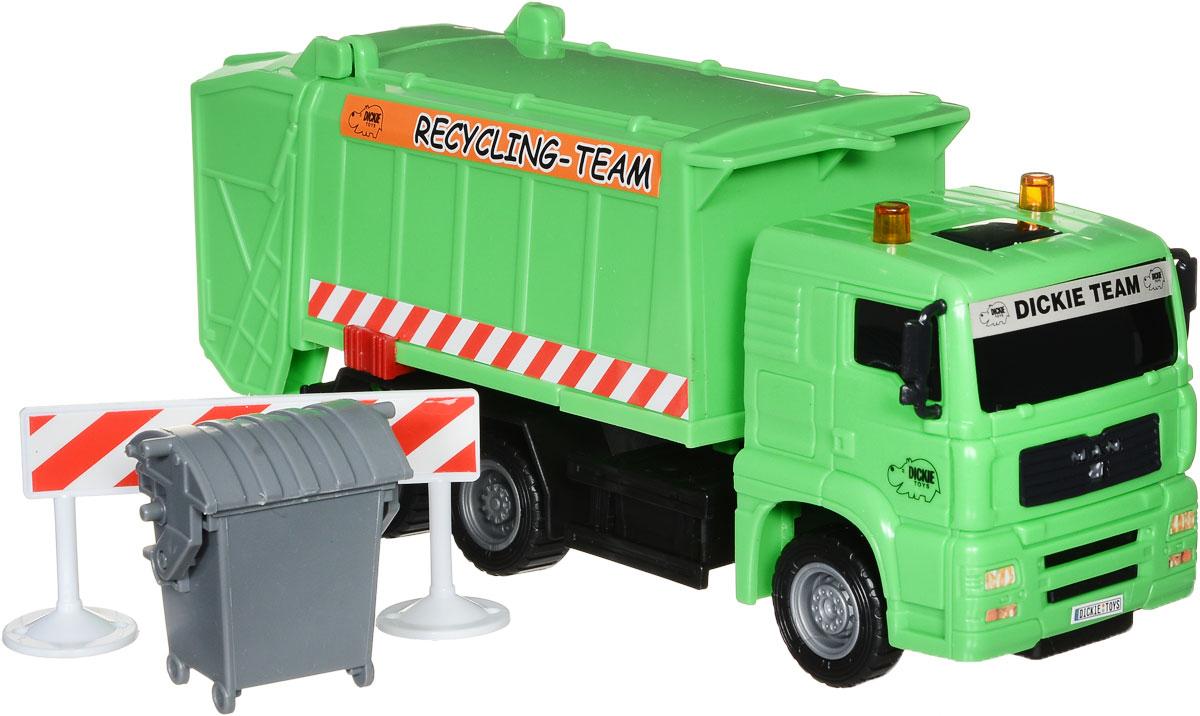 Dickie Toys Мусоровоз MAN цвет зеленый3343000_зеленыйМусоровоз Dickie Toys MAN привлечет внимание вашего ребенка и не позволит ему скучать. Игрушка выполнена из прочного пластика в виде хорошо детализированного мусоровоза. Кузов машины поднимается, задняя дверца кузова открывается. Мусоровоз оснащен подъемным механизмом для опрокидывания мусорного бака (входит в комплект). Ваш ребенок сможет часами играть с мусоровозом, придумывая разные истории. Порадуйте его таким замечательным подарком!