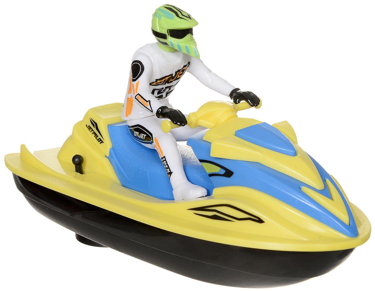 Dickie Toys Водный мотоцикл Sea Jet цвет желтый белый3772003_желтый/белыйВодный мотоцикл Dickie Toys Sea Jet - это игрушечный водный мотоцикл, за рулем которого сидит фигурка в шлеме. Водный мотоцикл действительно может плыть по воде, причем довольно быстро. Включается игрушка с помощью рычажка на правом борту мотоцикла. Сделайте вашему ребенку такой замечательный подарок! Для работы игрушки необходима 1 батарейка типа АА напряжением 1,5V (не входит в комплект).