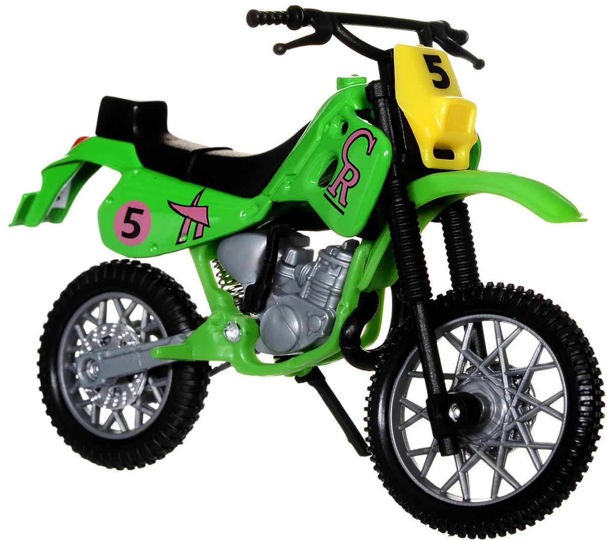 Dickie Toys Кроссовый мотоцикл цвет зеленый3341004_зеленыйТакой яркий кроссовый мотоцикл Dickie Toys понравится любому ребенку, который сможет с ним не только играть, но и сделать его частью своей коллекции. У игрушечного мотоцикла поворачивается руль, имеется подставка, благодаря которой он может стоять, а также свободно вращающиеся резиновые колеса. Реалистичный мотоцикл, выполненный с вниманием к деталям, станет отличным дополнением к автопарку вашего малыша!