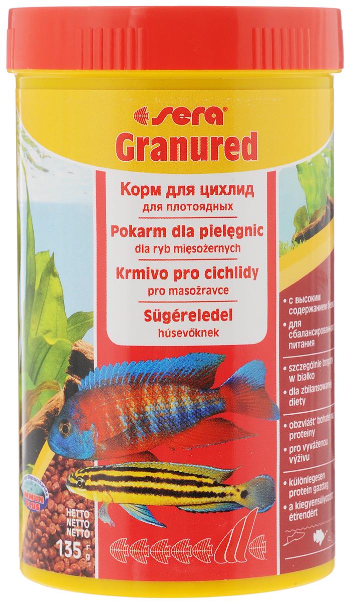 Корм Sera Granured, для плотоядных рыб, 135 г15978_новый дизайнГранулированный корм Sera Granured является основным кормом для плотоядных цихлид. Высокое содержание белка, ценных жиров и криля способствует здоровому развитию и оптимальному формированию яркости и насыщенности окраски цихлид. Медленно тонущие гранулы, надолго сохраняют свою форму в воде, не загрязняя ее. Товар сертифицирован.