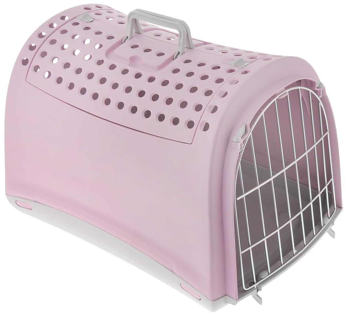 Переноска для животных IMAC Linus Cabrio, цвет: розовый, серый, 50 х 32 х 34,5 см80586Переноска для животных IMAC Linus Cabrio изготовлена из прочного пластика и предназначена для собак мелких пород и кошек, также подойдет для грызунов, например, кроликов. Уникальная особенность этой переноски - открывающаяся крыша в виде распахивающихся дверей с замками. Это делает переноску просто незаменимой для животных, которых порой очень сложно заставить залезть внутрь через обычную боковую дверцу. Чтобы питомец чувствовал себя спокойно и защищенно, боковые стенки не имеют отверстий, а на крыше есть перфорация. Сбоку имеется металлическая решетка, которую при необходимости можно снять. Прочные ручки обеспечивают удобную переноску. Рекомендуется для животных весом до 6 кг (гарантия производителя - 5 кг).