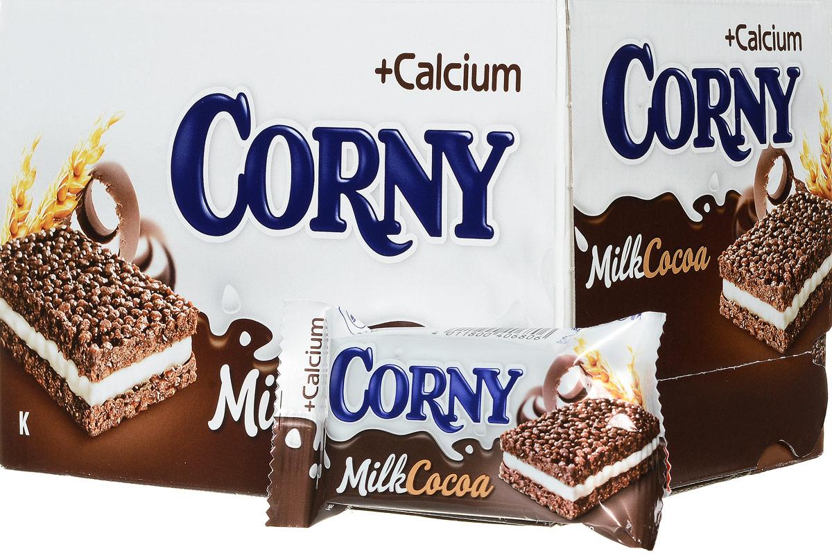 Corny Milk Cocoa батончик злаковый c молоком и какао, 24 штбзк015_24 штукиЗлаковые батончики Corny - вкусная и здоровая альтернатива традиционным снэкам - шоколадным плиткам, чипсам и булкам. Батончики сочетают в себе исключительную пользу и удобство. В их состав входят злаки, орехи, фрукты и шоколад. Разнообразие видов позволяет каждому выбрать батончик по своему вкусу. Медленные углеводы заряжают полезной энергией, а удобная форма и упаковка соответствуют быстрому ритму жизни. Уважаемые клиенты! Обращаем ваше внимание, что полный перечень состава продукта представлен на дополнительном изображении.