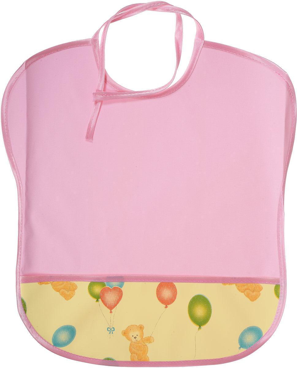 Колорит Нагрудник защитный с карманом Мишки 33 см х 33 см 0068_розовый, желтый