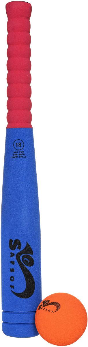 Safsof Игровой набор Бейсбольная бита и мяч цвет синий красный оранжевыйBB-18_синий,красный,оранжевыйИгровой набор Safsof, изготовленный из вспененной резины, включает бейсбольную биту и мяч. Такой набор непременно пригодится вам, если вы собрались приобщиться к такой увлекательной игре, как бейсбол. Сегодня профессиональный бейсбол привлекает на стадионы миллионы зрителей и развлекает миллионы людей, которые слушают или смотрят трансляции по радио и телевидению. Благодаря яркой расцветке и легкому мягкому материалу, игра в бейсбол будет не только интересной, но и безопасной. Такой набор станет отличным подарком для маленького спортсмена и будет незаменим на летнем отдыхе.
