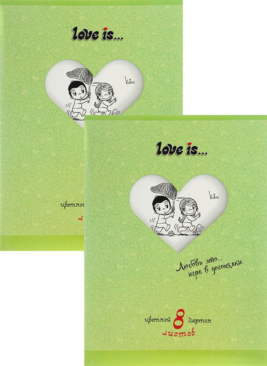Action! Набор цветного картона Love is… 8 листов цвет папки зеленый 2 штLI-ACC-8/8_зеленыйНабор цветного картона Action! Love is... позволит создавать всевозможные аппликации и поделки. Набор включает 2 папки цветного картона по 8 листов формата А4 в каждой. Цвета: желтый, красный, зеленый, синий, оранжевый, белый, коричневый черный. Создание поделок из цветного картона позволяет ребенку развивать творческие способности, кроме того, это увлекательный досуг.