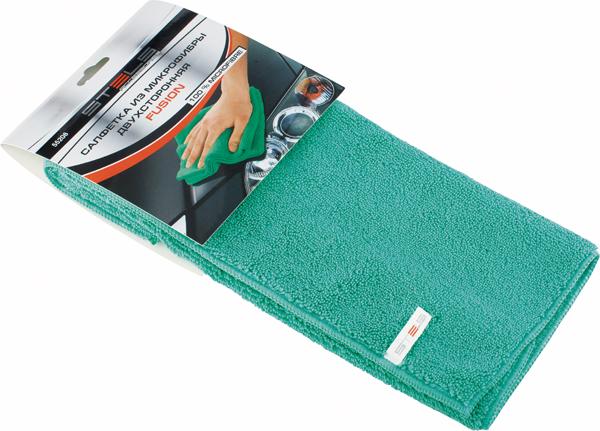 Салфетка автомобильная Stels Fusion, 350 х 400 мм55208Двухсторонняя салфетка с ворсом особо высокой плотности. Длинный ворс - для удаления пыли, короткий ворс - для деликатной чистки. Эффективно удаляет все виды загрязнений. Не оставляет ворсинок и разводов, не царапает поверхность, проникая в микротрещины, устраняет бактерии и микробы, впитывает жидкости больше, чем обычная ткань.
