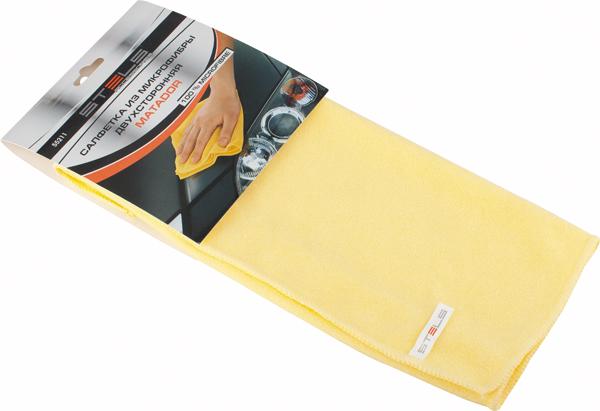 Салфетка автомобильная Stels Matador, 350 х 400 мм55211Двухсторонняя салфетка с ворсом высокой плотности. Мягкий ворс - для деликатной чистки поверхности, жесткий ворс - для удаления въевшихся загрязнений. Эффективно удаляет все виды загрязнений. Не оставляет ворсинок и разводов, не царапает поверхность, проникая в микротрещины, устраняет бактерии и микробы, впитывает жидкости больше, чем обычная ткань.