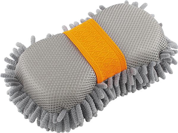 Губка для мойки кузова Stels Jump, шиншилла с сеткой55213Поверхность с микрофиброй отлично подходит для деликатной чистки поверхности, обратная сторона — с сеткой — для удаления въевшихся загрязнений. Впитывает гораздо больше воды, чем обычная губка.