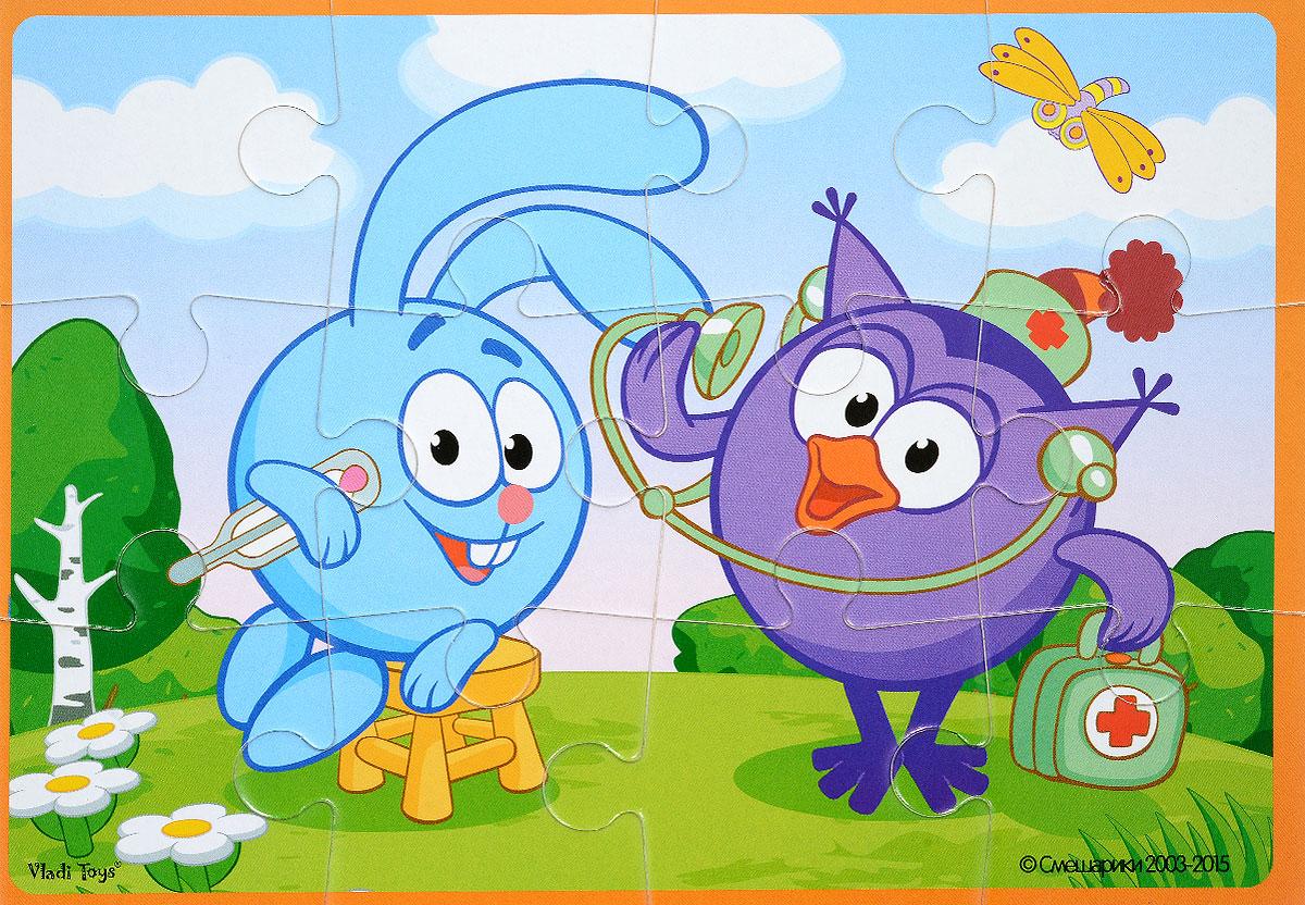 Vladi Toys Пазл для малышей Смешарики Крош и СовуньяVT1103-37Пазл для малышей Vladi Toys Смешарики. Крош и Совунья состоит из крупных мягких деталей, подойдет для самых маленьких детей. Все детали легко соединяются между собой. Собрав этот пазл, включающий в себя 12 элементов, вы получите картинку с изображением двух персонажей популярного детского мультфильма Смешарики. Пазл научит ребенка усидчивости, умению доводить начатое дело до конца, поможет развить внимание, память, образное и логическое мышления, сенсорно-моторную координацию движения рук. Крупная и яркая форма собираемых элементов картинки способствует развитию мелкой моторики, которая напрямую влияет на развитие речи и интеллектуальных способностей. В дальнейшем хорошая координация движений рук поможет ребенку легко овладеть письмом.