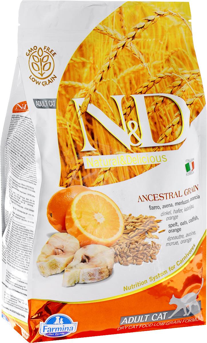 Корм сухой Farmina N&D для взрослых кошек, низкозерновой, с треской и апельсином, 1,5 кг21588Сухой корм Farmina N&D является низкозерновым полноценным питанием для взрослых кошек. Изделие имеет высокое содержание витаминов и питательных веществ. Сухой корм содержит натуральные компоненты, которые необходимы для полноценного и здорового питания домашних животных. Товар сертифицирован.